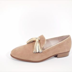Moccassin camel suede